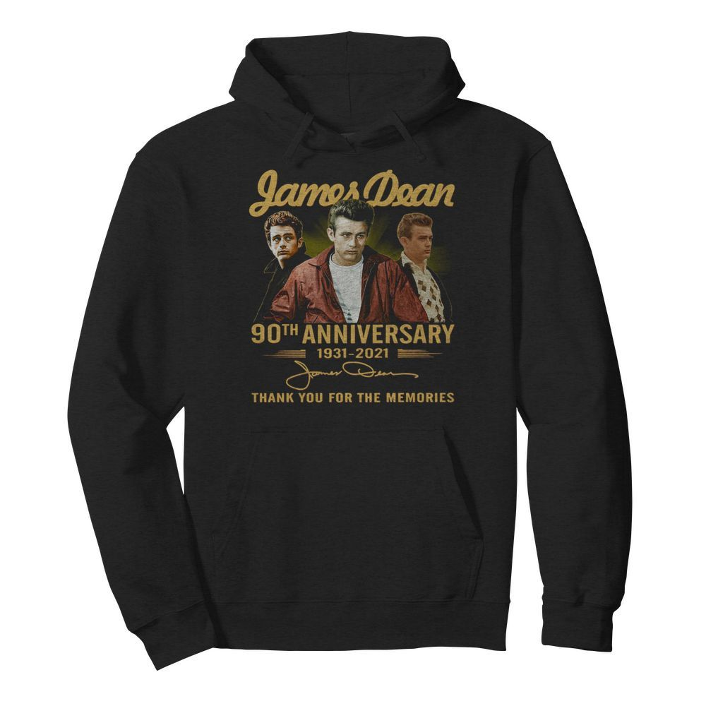 James Dean 90th Anniversary 1931 2021 Thank You For The Memories Signature  Unisex Hoodie