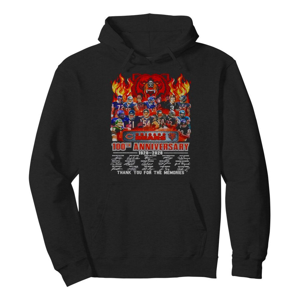Chicago Bears 100th anniversary 1920 2020 thank you for the memories signatures  Unisex Hoodie
